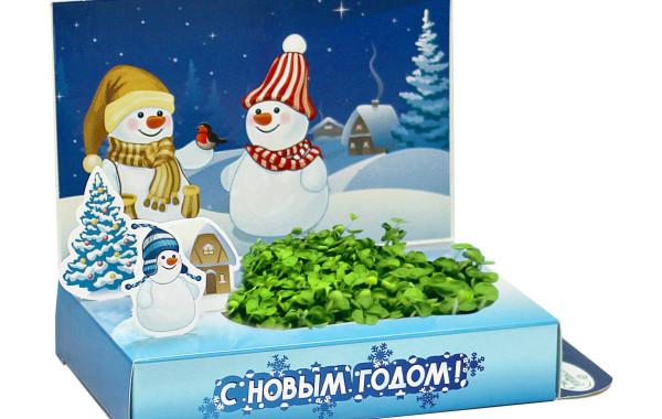 Живая открытка «Снеговик»
